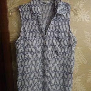 Express women's blouse blue white